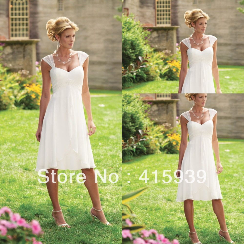 WATCH!Free shipping!Short informal simple shoulder straps chiffon tea length summer beach wedding dress HS040(China (Mainland))