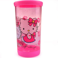 Retail  Cute Hello Kitty sealed cup readily Cup / Hello Kitty crystal color cup / Cartoon travel cup 300ML Wholesale