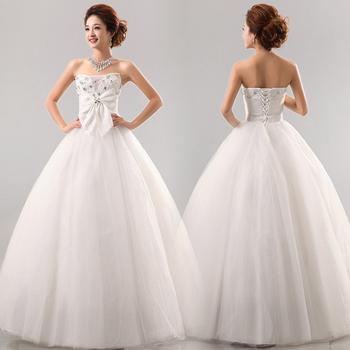 Chest bow diamond pearl net wedding dress sweet wedding qi hs0022