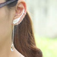 Wholesale Cheap Gift  Wedding Jewelry 2013 Fashion Silver Wings Earrings With Pendant Ear Cuff Clip Earrings For Women