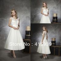 WATCH!Free shipping!Short informal v neck sleeveless beaded organza summer beach wedding dress HS039