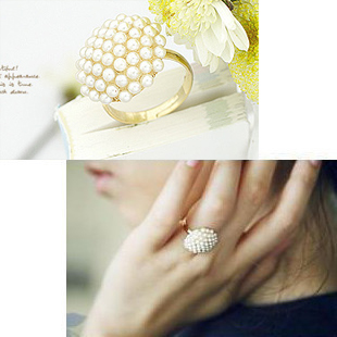 280,min $10,mix order, elegant mushroom head white pearl ring and ring crown on sale(China (Mainland))