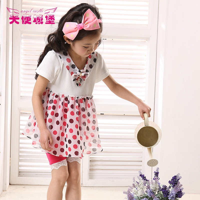 Children's clothing female child 2013 fashionable casual set chiffon yarn skirt set(China (Mainland))