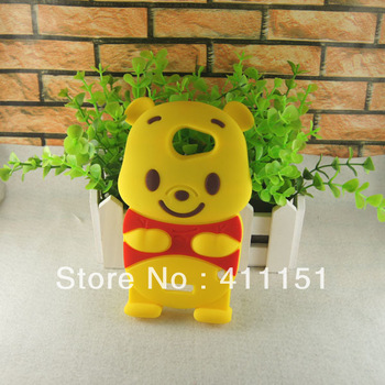 Free Shipping Lovely Bear Soft Rubber Back Cover Case For HTC One X Yellow,Mobile Phone Case