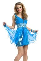 V-neck Strappy Shiny Sequined Triming Sexy Beach Short Blue Dresses Graduation 2013