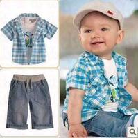 2013 baby Boys clothing sets  kids children's short sleeves clothes suits (shirt+t shirt+pants)3pcs, 5sets/lot