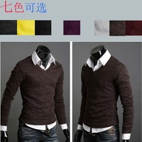 HOT SALE!!!2013 new arrival Autumn slim V-neck pullover male fashion sweater 7 color M L XL XXL FREESHIPPING