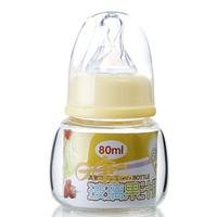 COMBO Brand Mini Safe Glass Baby Nursing Bottle 110mm width Juice Bottle Standard Silicone nipple 80ml Feeding Supplies