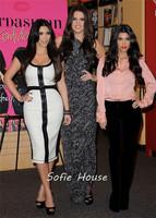 Elegant scoop cap sleeve white black leather tea length sheath red carpet celebrity kim kardashian dresses