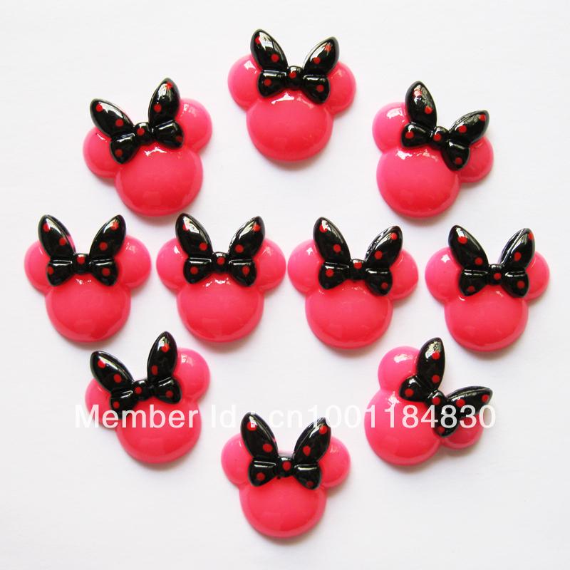 Lotes Bulk 50 pcs rosa Minnie Mouse Bow resina cabochões Flatbacks plano voltar menina grampo de cabelo centro celular artesanato RE152(China (Mainland))
