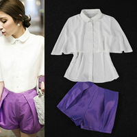 New In 2013 Summer Street Fashion Cute Peter pan Collar Cloaking Style Shirt Tops+Purple Petal Shorts SS13173