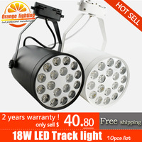 free Shipping,Factory direct sales, 10pcs/lot 18W 18*1W high power led track lighting, clothes shop spotlight,AC85-265V,1800LM