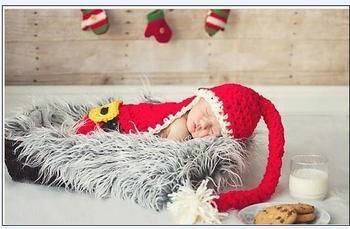 100% Pure Handmade Santa Claus Style Handmade Crochet Newborn Baby Beanie Photography Props 0- 3 months Free Shipping