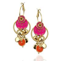 Top quality 2014 New Arrival Vintage Women Multicolor Enameling & Beads Long Pendants Statement Drop Earrings
