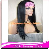 "Wholesale light yaki full lace human hair wigs Glueless 12-24"" brazilian virgin hair jet black for african american FreeShipping"