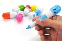 150 pcs/Lot Office Supplies Retractable Pen/Ball Point Cartoon Telescopic Face Vitamin Capsule Pills Pen  Free Ship