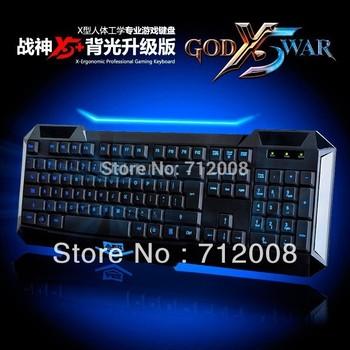 A-JAZZ New AJAZZ X5+ USB Backlit LED Illuminated Ergonomic Game Gaming Keyboard Drop Shipping