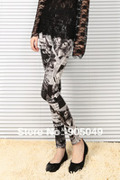 Min Order 5pcs Or Mix $15 Novelty Sexy Beauty Girl Pattern Newspaper Printed Elastic Slim Leggings For Women 035