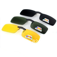 1 pair* Dark Green /Black Lens Polarized Day Vision Clip On Glasses Yellow Lens For Night Driving Eyeglass Clips On Sunglasses
