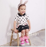 100% Cotton Girl Dresses Summer 2013 New Fashion Print Dot With Bow Children Clothing Blue White Fit 2-3 age 5 pcs/lot IN STOCK