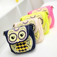 new arrival owl with heart eyes crossbody bags candy colour women's shoulder bag mini-package print handbags