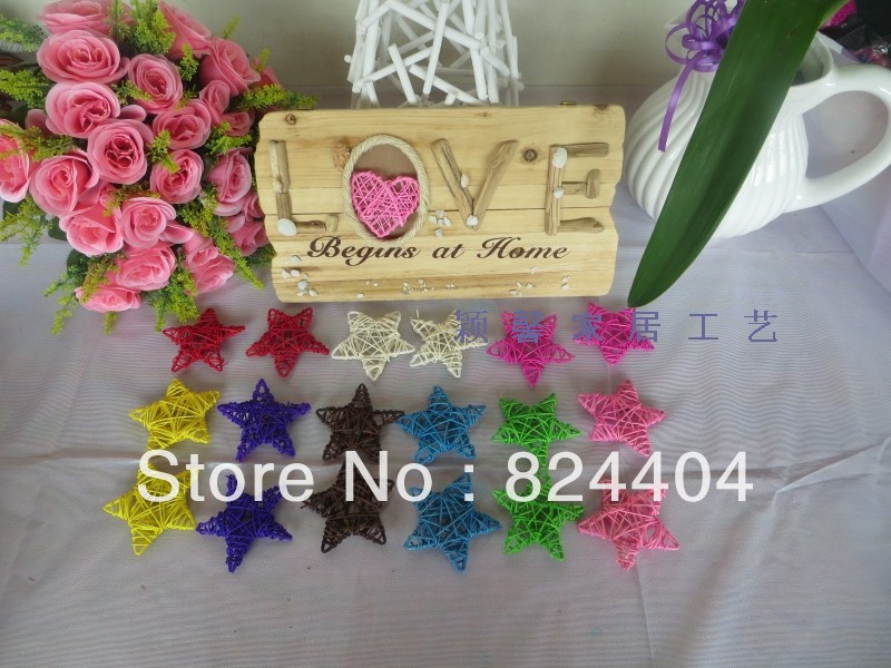 FREE SHIPPING mix color 20pcs/lot Christmas rattan 8 five-pointed star hangings decoration home decoration ball HOT SELLING(China (Mainland))