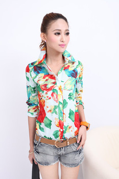 Women Casual Flower T Shirt Lady Button Down Shirt Blouse Short Sleeve Tops E