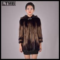 Women min fur coat turn down collar three quarter sleeve adjustable waist short mink fur coat with hood for ladies 2014