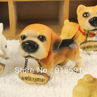 Free shipping (8 pieces/lot) Home decoration resin craft ornaments clapboard home furnishings animal dog Diao cards welcome