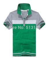 High Quality 2014 Summer Men's Brand Color Block Short-sleeve Stand-collar Cotton T-shirt  Plus Size P45 XXXL,4XL,5XL