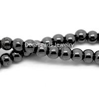 "Free Shipping! Hematite Round Loose Beads 6mm(1/4""), Approx 225Pcs (B17918)"