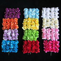 Mulberry Paper Rose Flower Bundle/SCRAPBOOKING artificial mini DIY flower / About 2CM 144PCS/LOT / FREE SHIPPING