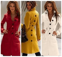 2013 spring fashion outerwear cotton coat  women European Style Design Belted Long slim Trench Coat free shipping 4 colors C009