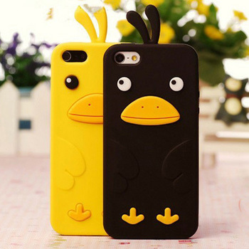 Free shipping cell phone case  silicon protective cover for iphone4/4s super cute cartoon duck chicken for apple4 4s