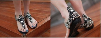 Summer New Sexy Beading Diamond Flats Sandals Women's Shoes In Black Color Fashion Shoes Sandal,Free Shipping