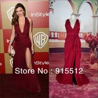 Miranda Kerr Burgundy Sexy Deep V-neck Chiffon Celebrity Dresses 2014