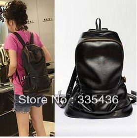 HOT SELL 2013,Fashion Book Bag  Women And Men Backpacks With PU Leather,1 Piece Free Shipping,Support Wholesale,LYA130