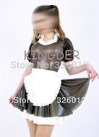 Hot sale sex nightclub party adult costume fancy latex tight skinny maid uniform dresses