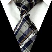 FS93 Gray Navy Checked 3.4'' 100%Silk Jacquard Classic Woven Man's Tie Necktie