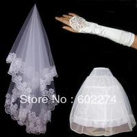 Bride Wedding Quality Veil 3 Piece Set White Gloves Pannier Marriage Accessories Free Shipping