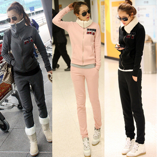 2013 Autumn Winter Fleece Thickening Velvet Women's Hoodies Female Plus Size Sweatshirt Outerwear Casual Sports Wear Set GDC002