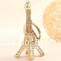 Free Shipping! Fashion Retro Rhinestones Eiffel Tower Souvenirs Keyfob Paris Model Metal Keychain Jewelery Gift 2013 hotsale