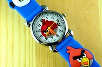 Drop Shipping dark blue brid! lovely  Lovely 3D Cartoon Watch Children Kids Quartz Wristwatches 2pcs retail