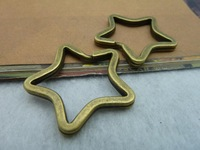 Diy accessories vintage handmade materials ancient bronze five-pointed star key ring c2196 34mm 10pcs/lot