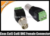 10pcs Coax Cat5 Cat6 CCTV Coaxial Camera BNC female Jack Video Balun Connectors