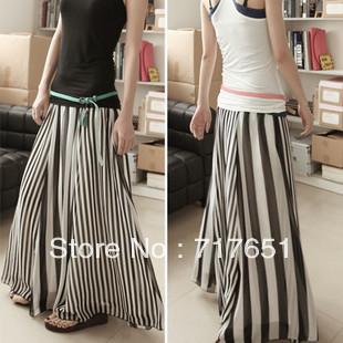 Women's black and white stripe patchwork chiffon skirt expansion skirt stripe bust skirt half-length full