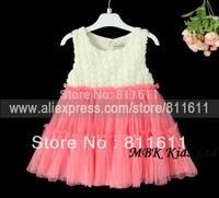 Retail Girl 3D Flowers Dress Vest Dress Girls Chiffon dress Kids Beads Petti Dress 1 Pcs 3-7 Years Free Shipping