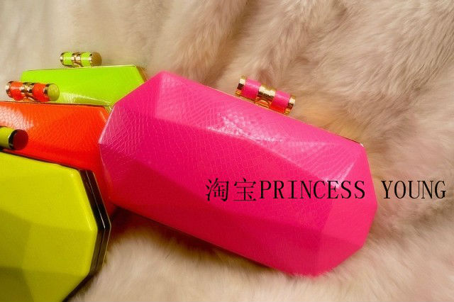 Free shipping fashion fluorescent crystal smooth skin fruit gel color metal octagon colourful handbag shoulder evening bag(China (Mainland))