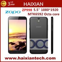 Original ZOPO ZP998 MTK6592 Octa Core Cell Phone 2GB RAM 16GB ROM 1.7GHz CPU 14mp 5.5'' gorilla glass 1080p Screen GPS NFC OTG