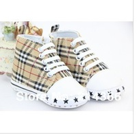 Free shipping brown& blue color Good Quality Boy's and Girl's very Soft Sole Shoes Baby First Walkers Shoes with zipper